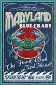 Blue Crab Vintage Sign Print