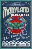 Blue Crab Vintage Sign Print
