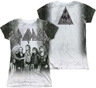 Def Leppard - Polyester The Band Juniors Cap Sleeve Dye Sublimation - Womens - Tee