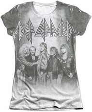 Def Leppard - Poly Cotton Blend 65/35 The Band Juniors Cap Sleeve Dye Sublimation - Womens - Tee