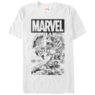 Captain America - Black and White Cap - Mens T-shirt