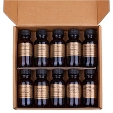 Inside the sampler gift box of organic olive oils, infused olive oils, balsamic vinegars.