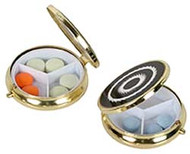 Pocket Size Round Fashion Gold Pill Box
