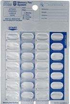 Monthly dosing card for blister pack system.