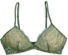 ALL LACE CLASSIC BRALETTE W/ REMOVABLE FOAM CUPS PACIFIC GREEN