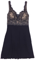 HOME APPAREL BUILT-UP CHEMISE BLACK W/ BLACK LACE