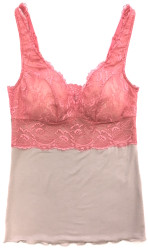 HOME APPAREL BUILT UP CAMI OATMEAL W/ CORAL LACE