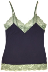 HOME APPAREL CAMISOLE DEEP BLUE W/ PACIFIC GREEN LACE
