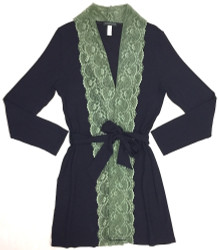HOME APPAREL LACE FRONT ROBE DEEP BLUE W/ PACIFIC GREEN LACE