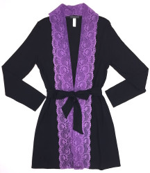 HOME APPAREL LACE FRONT ROBE BLACK W/ IRIS LACE
