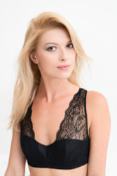 SILK WITH LEAVERS LACE LOLA BRA TOP BLACK
