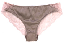 SILK WITH LEAVERS LACE ELOISE BRIEF HONEY