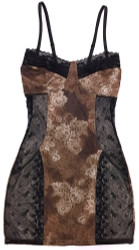FILIGREE CORSET CHEMISE BROWN BLACK