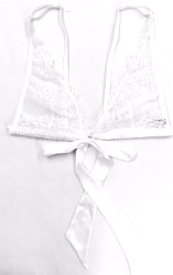 HONEYMOON TIE FRONT BRALETTE WHITE W/ WHITE LACE