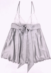 HONEYMOON DRAPED TIE BABYDOLL SILVER W/ WHITE LACE