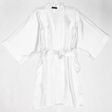 HONEYMOON CLASSIC SILK SHORT KIMONO WHITE