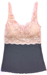 HOME APPAREL BUILT UP CAMI SLATE W/ PEONY LACE