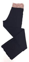 HOME APPAREL LACE WAIST PANT DEEP BLUE W/ JAVA MAUVE LACE