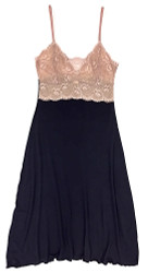 HOME APPAREL LACE CUP BALLERINA GOWN DEEP BLUE W/ JAVA MAUVE LACE