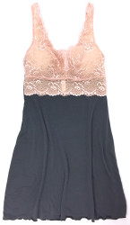 HOME APPAREL BUILT-UP CHEMISE SLATE W/ PEONY LACE