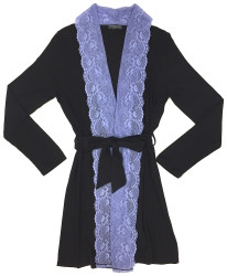 HOME APPAREL LACE FRONT ROBE BLACK W/ PERIWINKLE LACE