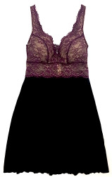 HOME APPAREL BUILT-UP CHEMISE BLACK W/ MERLOT LACE