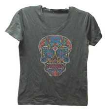 Gray V Neck Knit SS T Shirt Adult Large Sugar Skull Bling Applique