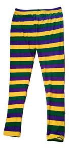 Mardi Gras Leggings Thin Stripe Purple Green Yellow Spandex Soft Knit One Size Ladies