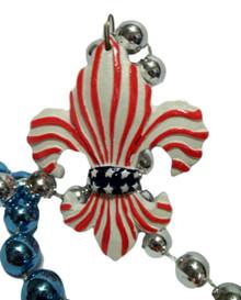 Red White Blue Fleur De Lis Stars Stripes Mardi Gras Beads Necklace Party Favor