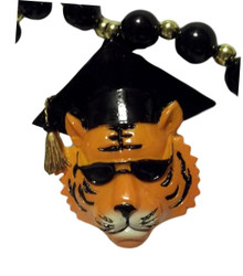 Tiger Graduate Black Gold Mardi Gras Beads Necklace Party Favor