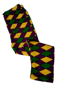 Mardi Gras Diamond Leggings Girls 4 Purple Green Yellow Soft Knit