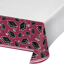 Burgundy Black 54 x 102 Border Print Tablecover Graduation School Spirit