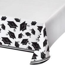 White Black 54 x 102 Border Print Tablecover Graduation School Spirit
