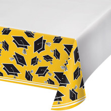 Yellow Black 54 x 102 Border Print Tablecover Graduation School Spirit