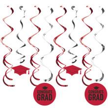 Red School Spirit Graduation Dizzy Danglers Hanging Decorations 5 Ct