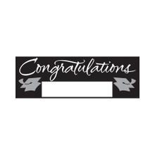"Black Silver Giant Party Banner 5' Graduation School Spirit ""Congratulations"""