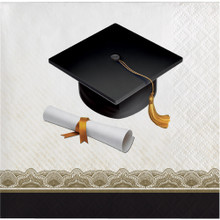 Black Gold Cap and Gown 16 ct Beverage Napkins Graduation Diploma