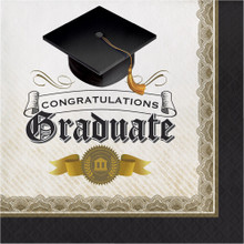 Black Gold Cap and Gown 16 ct Luncheon Napkins Graduation Diploma