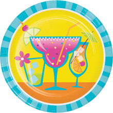 "Cocktail Fun 8 Ct Paper Dessert 7"" Plates Summer Pool Party Margarita"