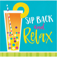 Cocktail Fun 16 Ct Paper Beverage Napkins Summer Pool Party Sip Back Relax