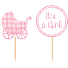 Pink Baby Shower Gingham 12 Picks for Cupcakes or Favors It's a Girl