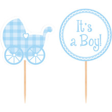 Blue Baby Shower Gingham 12 Picks for Cupcakes or Favors It's a Boy