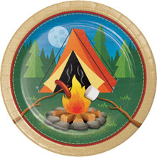 "Camp Out 8 Ct Luncheon 9"" Plates Birthday Party Tent Campfire Camping"