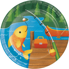 "Camp Out 8 Ct Dessert 7"" Plates Birthday Party Lake Camping Fishing"