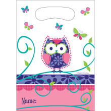 Owl Pal 8 Ct Plastic Favor Loot Bags Birthday Party