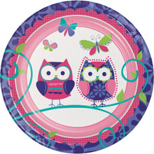 "Owl Pal 7"" Dessert 8 Ct Plates Birthday Party"