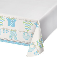 Bundle of Joy Boy Blue Plastic 48 x 88 Tablecover Baby Shower