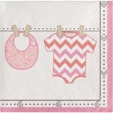 Bundle of Joy Girl Pink Beverage Napkins 16 Ct Baby Shower