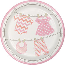 "Bundle of Joy Girl Pink 7"" Dessert Cake Plates 8 Ct Baby Shower"