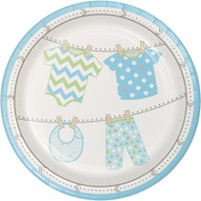 "Bundle of Joy Boy Blue 7"" Dessert Cake Plates 8 Ct Baby Shower"